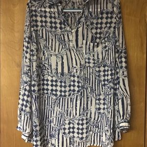 Soft Surroundings Womens Sheer Blouse Plus Size 1X